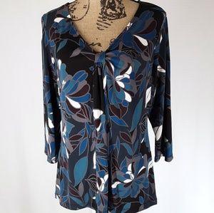 Alfani | Floral Print Long-sleeve Blouse (XL)